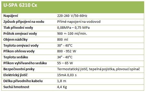 technické parametry u-spa 6210 cx